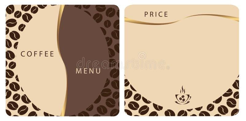 咖啡菜单界面模板 库存例证