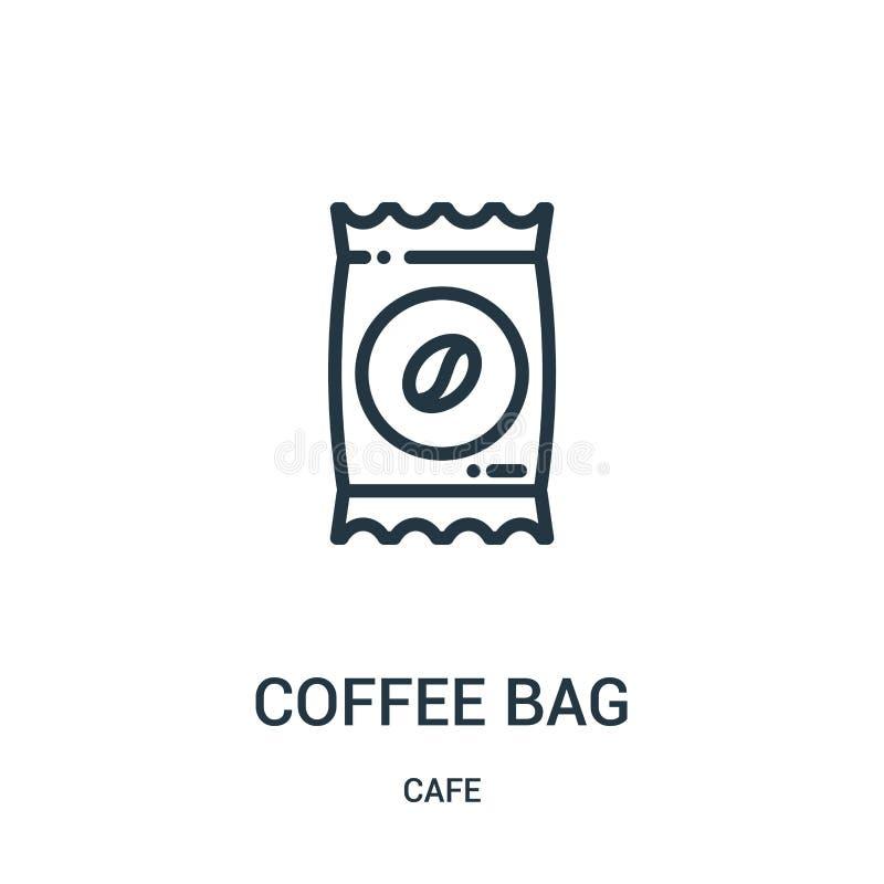 咖啡袋从咖啡馆汇集的象传染媒介 稀薄的线咖啡袋概述象传染媒介例证 r 库存例证