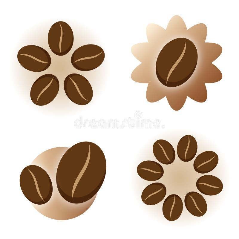 咖啡要素图标徽标 库存例证
