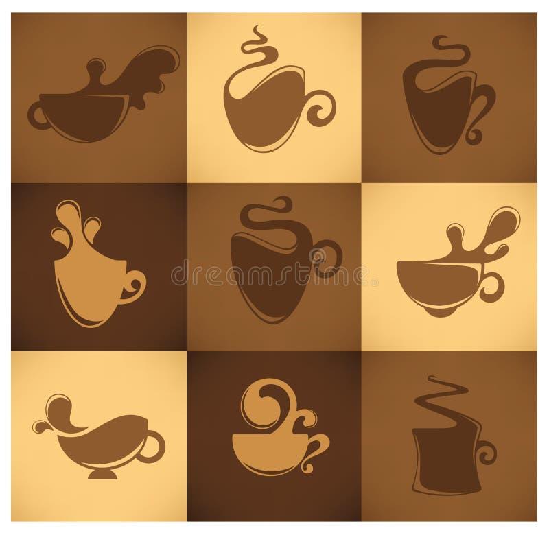 咖啡设计要素茶 皇族释放例证