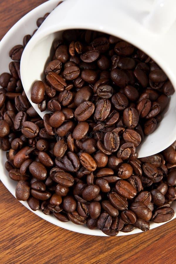 咖啡豆和杯子 库存照片