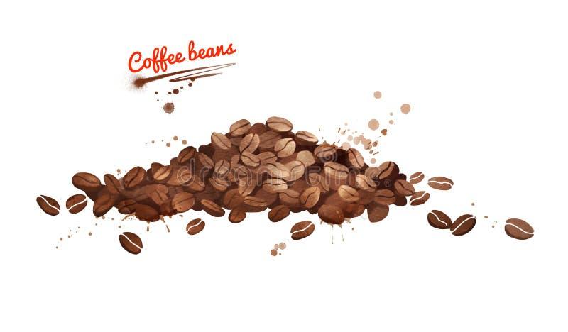 咖啡豆堆的水彩例证 库存例证