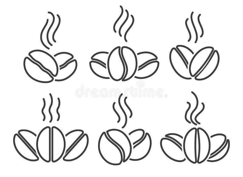 咖啡豆排行象集合 库存例证