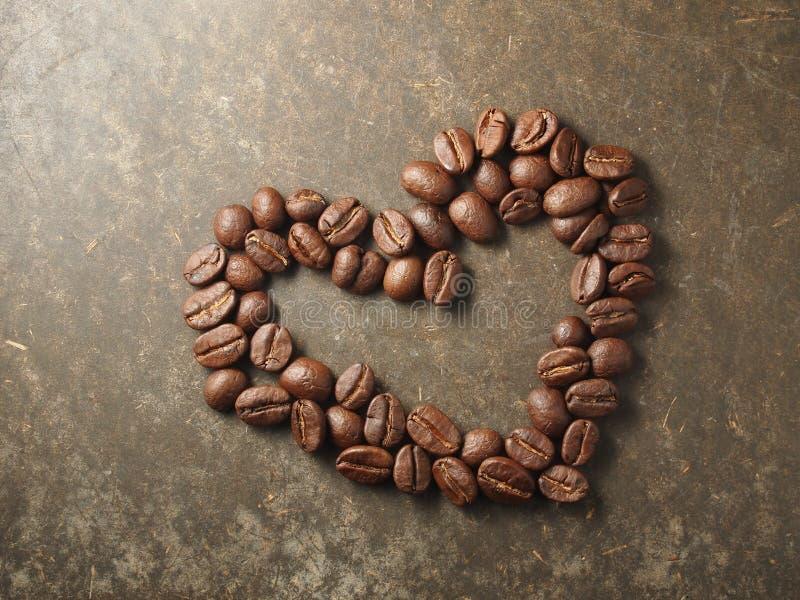 咖啡豆爱心脏 库存图片