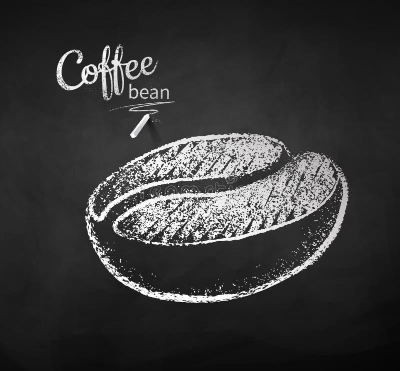 咖啡豆黑白白垩剪影  库存例证
