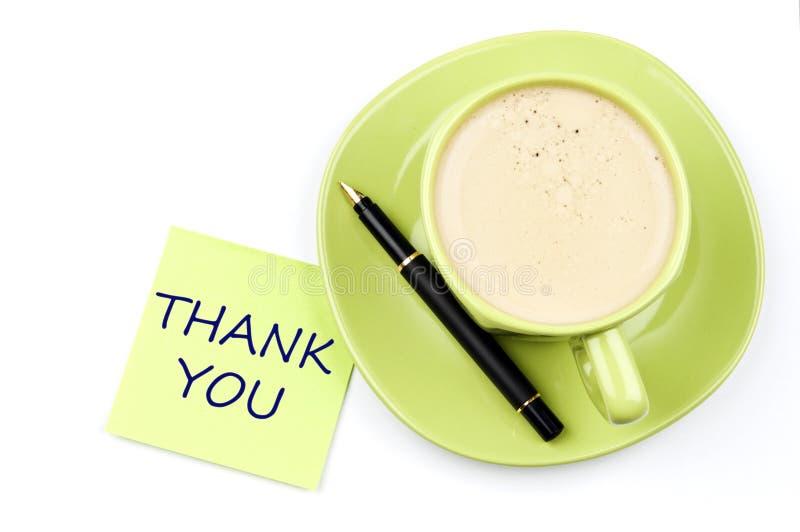 咖啡附注感谢您 免版税库存照片