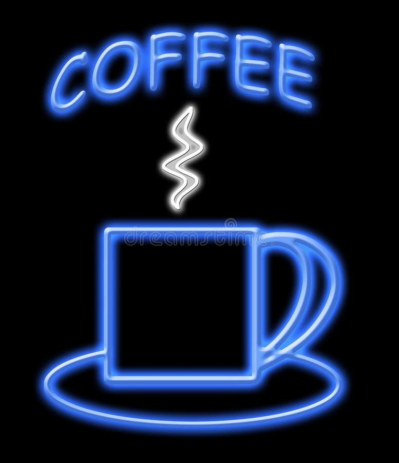咖啡霓虹灯广告 皇族释放例证