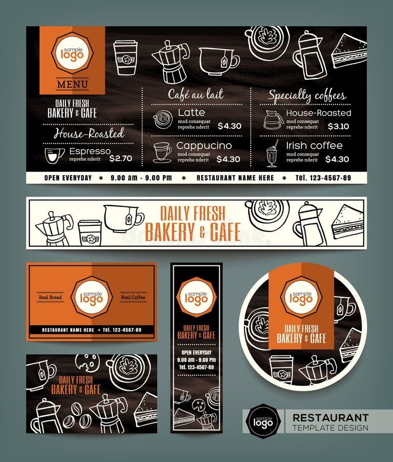咖啡面包店商店咖啡馆集合菜单设计模板 库存例证