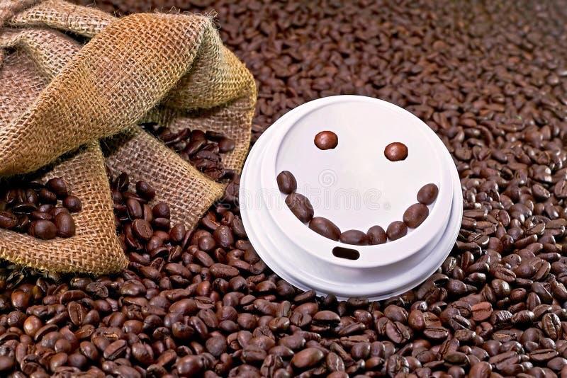 咖啡面带笑容 免版税库存照片