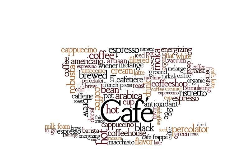 咖啡题材词云彩 向量例证