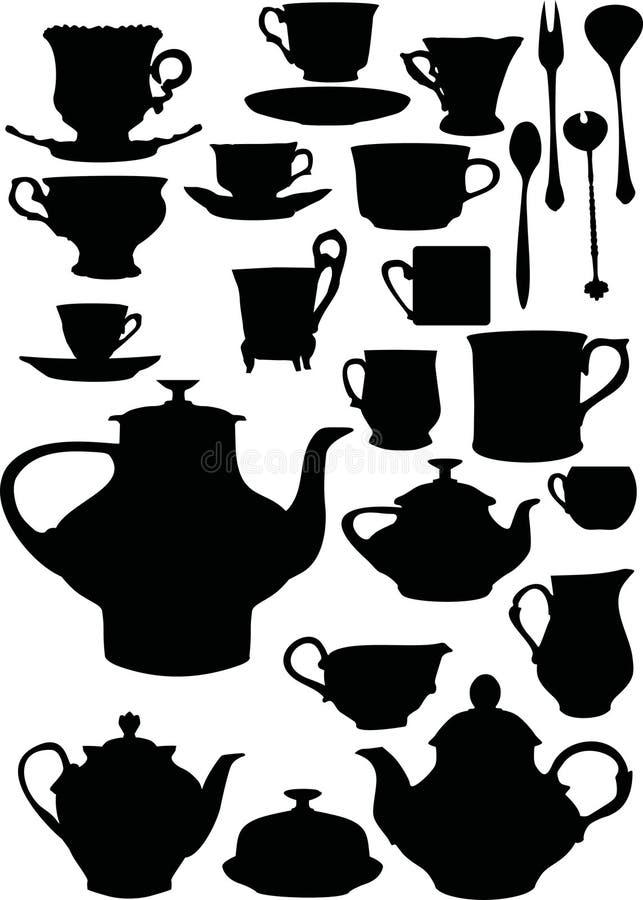 咖啡餐具茶 库存例证