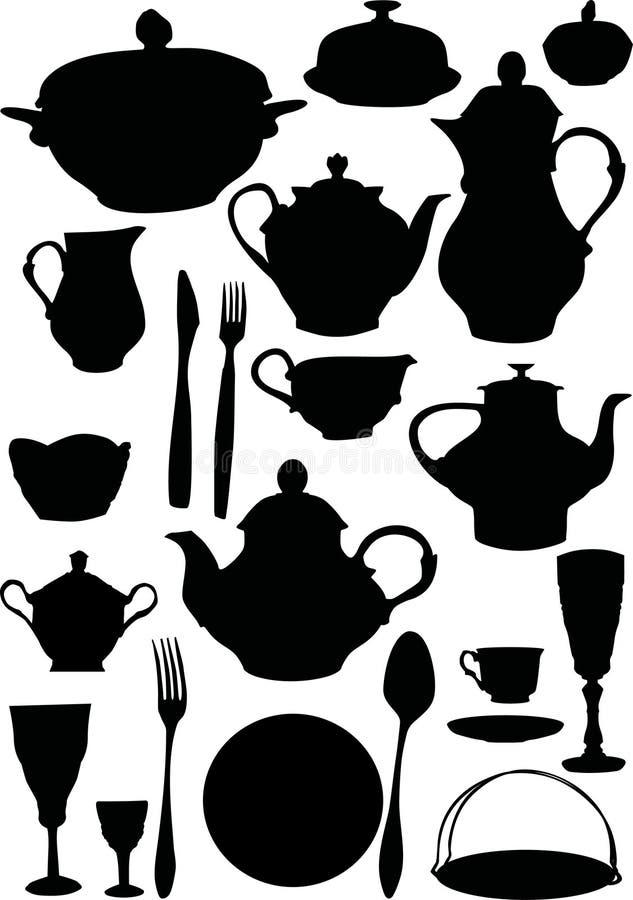 咖啡餐具茶 向量例证