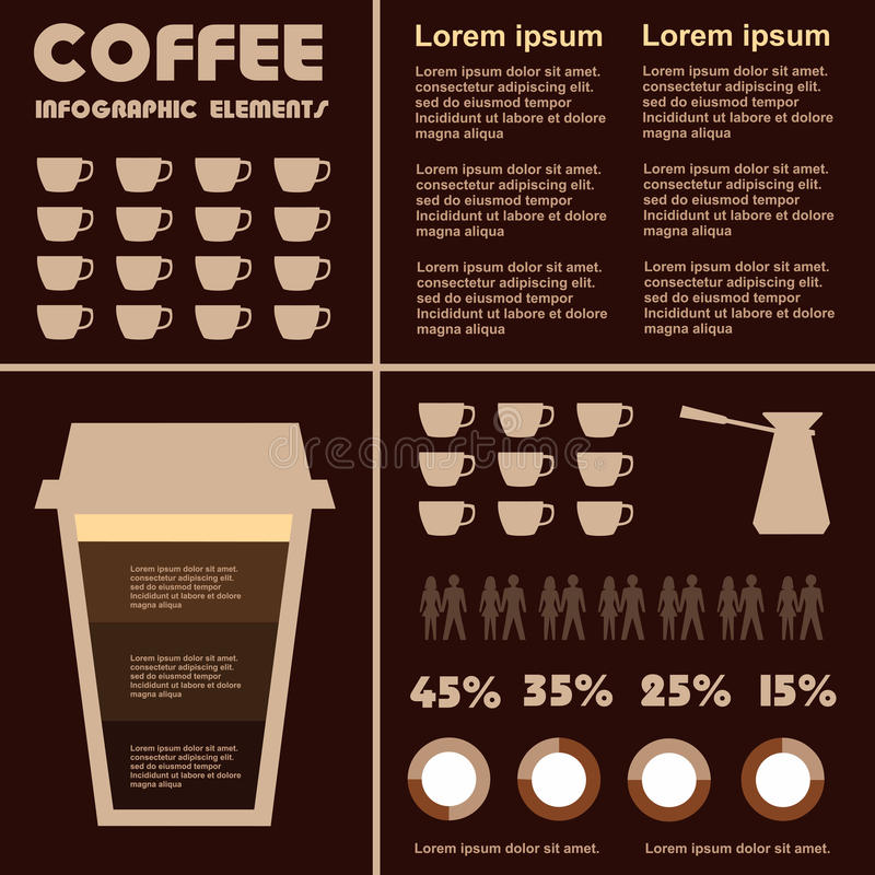 咖啡饮料的咖啡infographic元素类型, 库存例证