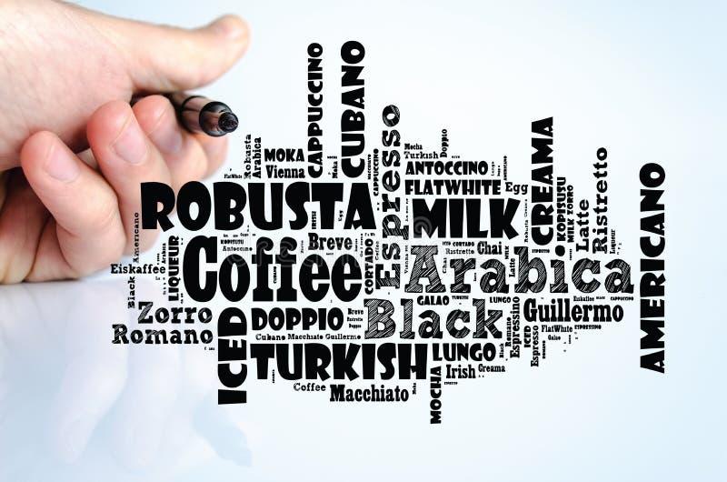 咖啡饮料词覆盖拼贴画 库存图片