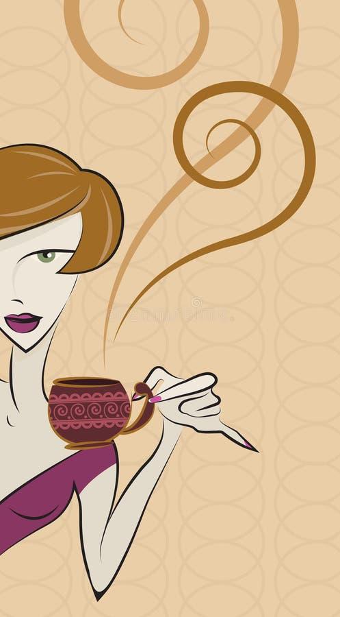 咖啡饮用的女孩向量 皇族释放例证