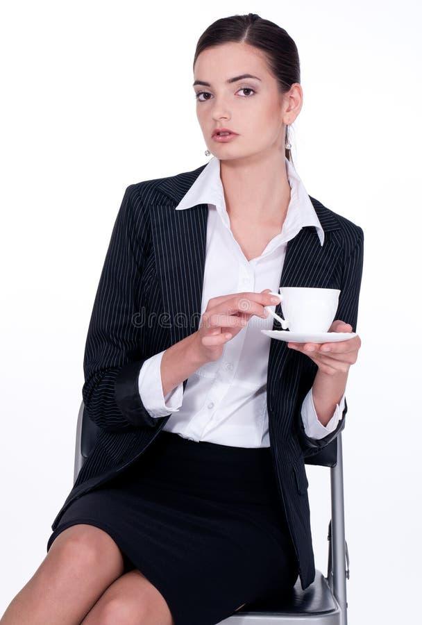 咖啡饮用的女孩茶 图库摄影
