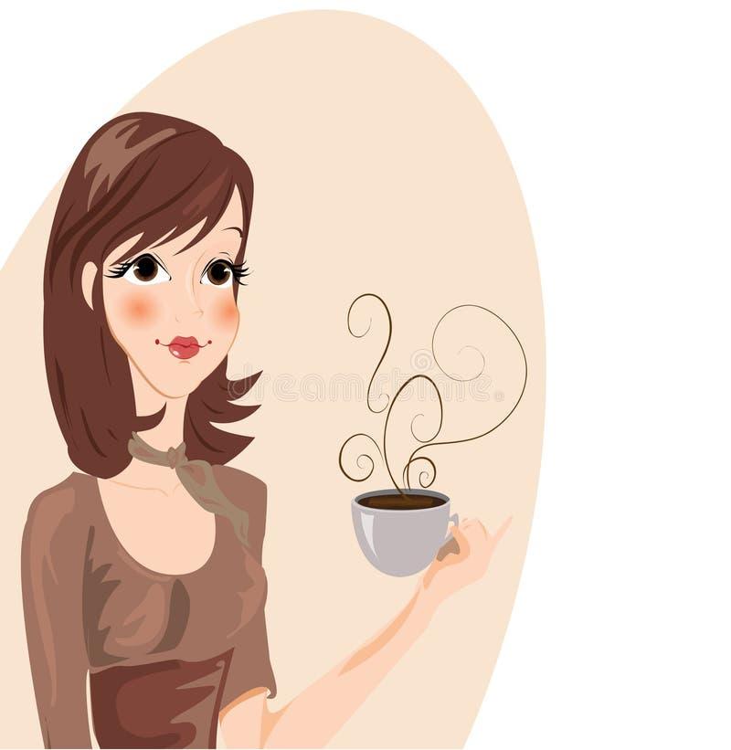 咖啡饮用的女孩 向量例证