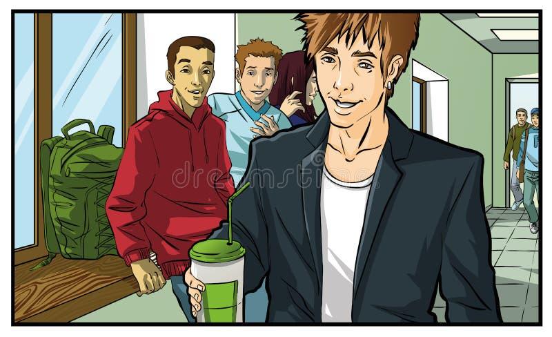 咖啡饮用的少年,年轻人 库存图片