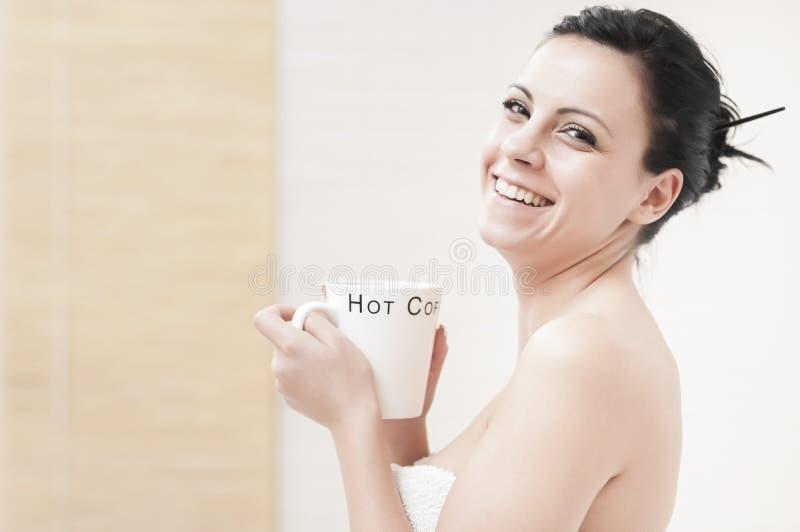 咖啡饮用的温泉 库存图片