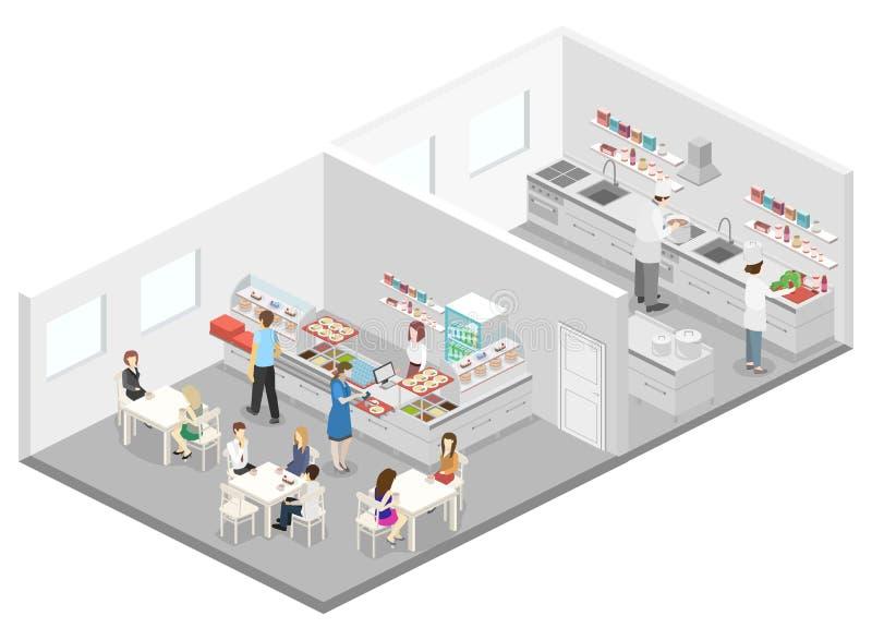 咖啡馆、军用餐具和餐馆厨房等量平的3D内部  向量例证