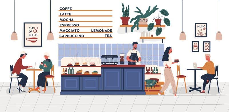 咖啡馆、咖啡馆或者咖啡馆与坐在桌,饮用的咖啡上和工作在膝上型计算机和barista的人 向量例证