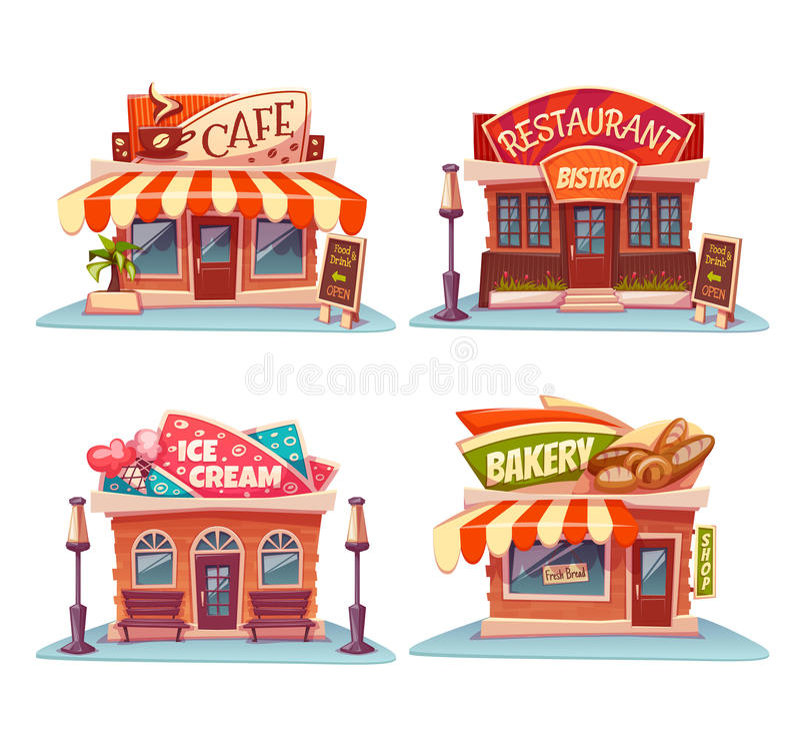 咖啡馆、餐馆、冰淇凌商店和面包店 库存例证