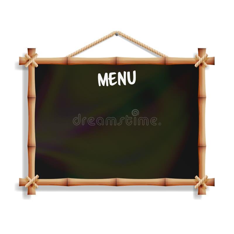 咖啡馆与竹框架的菜单板 背景查出的白色 现实黑空牌黑板垂悬 传染媒介Illust 向量例证
