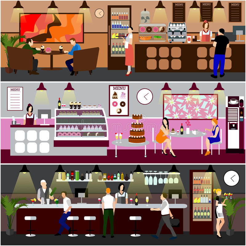 咖啡馆内部传染媒介例证 咖啡店、面包店、餐馆和酒吧设计  咖啡馆动画片平的样式的人们 皇族释放例证