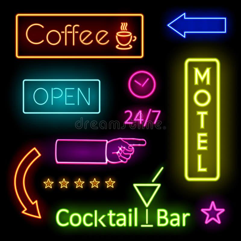 咖啡馆和汽车旅馆标志的发光的霓虹灯 向量例证
