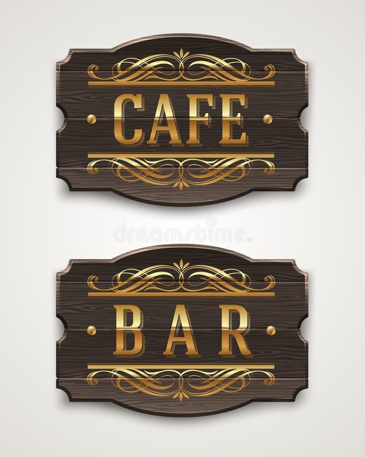 咖啡馆和酒吧的葡萄酒木标志 库存例证
