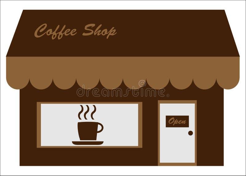 咖啡馆咖啡前面界面存储 皇族释放例证