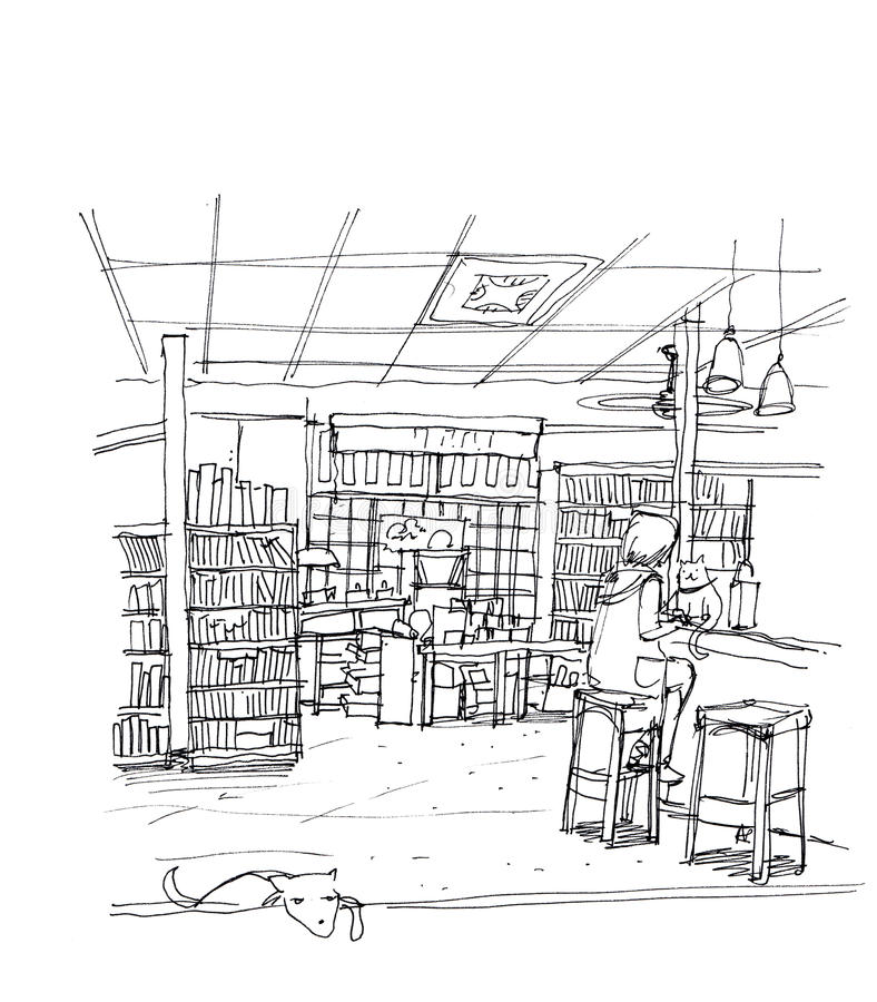 咖啡馆咖啡店、厨师商店猫和狗,概念企业illus 向量例证