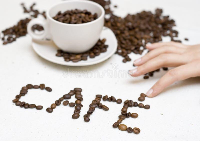 咖啡馆咖啡杯文本 免版税库存图片