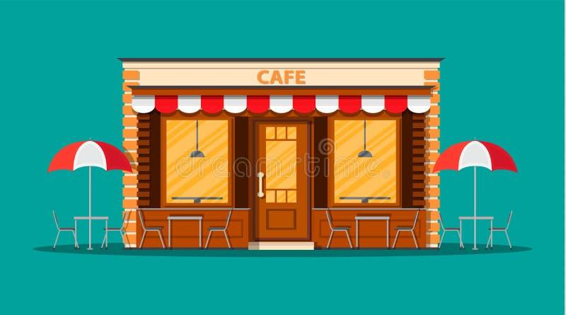 咖啡馆商店外部 街道餐馆大厦 皇族释放例证