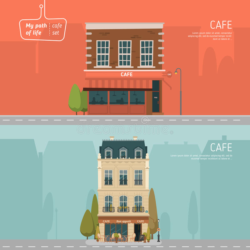 咖啡馆大厦 平的设计 皇族释放例证