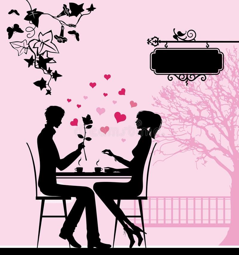 咖啡馆夫妇剪影 向量例证