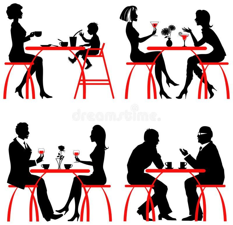 咖啡馆客户 库存例证