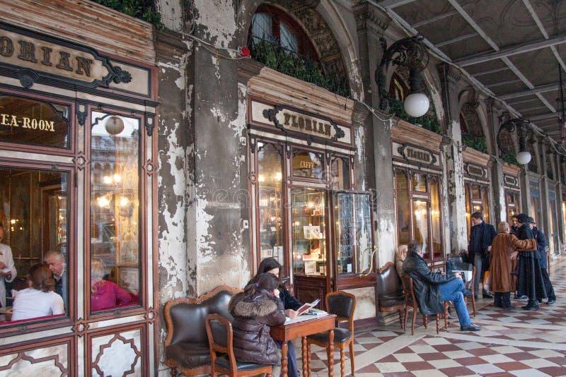 咖啡馆弗洛里安,圣马克` s正方形,威尼斯,意大利 库存图片
