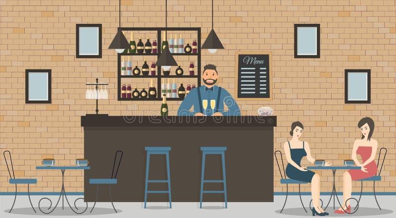 咖啡馆或酒吧内部在顶楼样式 酒吧柜台、侍酒者蓝色衬衣的有杯的香槟,美女和架子 库存例证