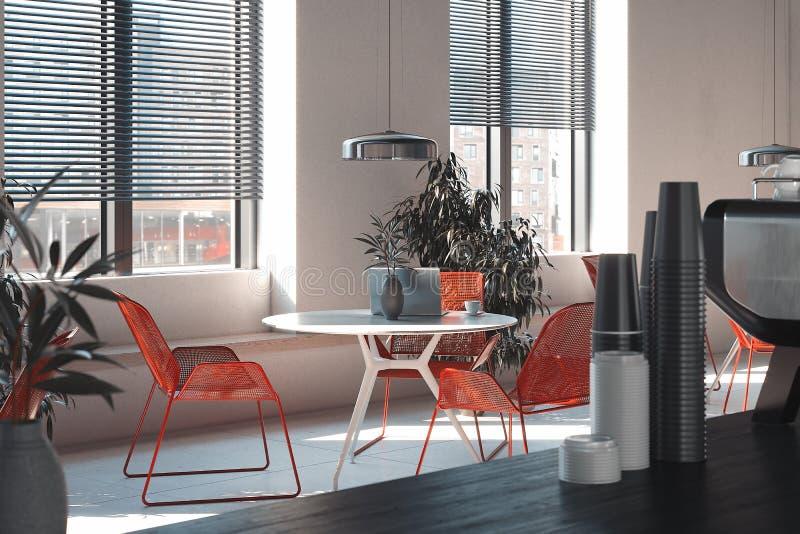咖啡馆或餐馆内部有红色椅子和白色桌的,3d翻译 库存例证