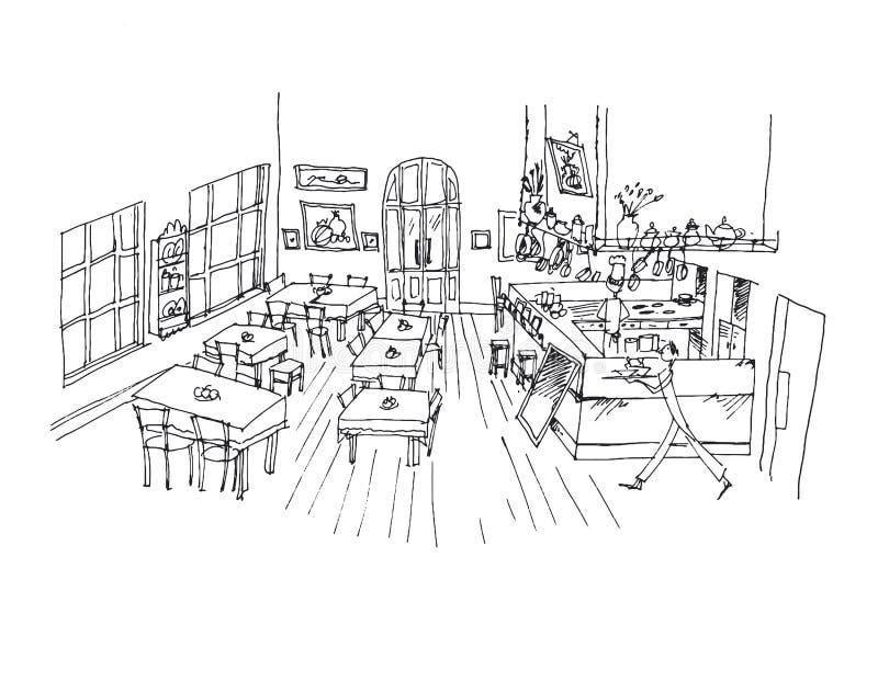 咖啡馆手拉的线性例证 库存例证