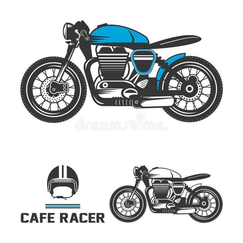咖啡馆有盔甲的竟赛者摩托车 库存照片