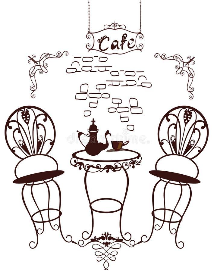 咖啡馆标志-桌和椅子,有杯子的咖啡壶 皇族释放例证