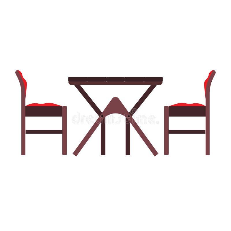 咖啡馆桌侧视图传染媒介平的象例证 餐馆动画片食物晚餐室外家具 内部城市集合小餐馆 皇族释放例证