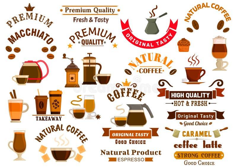 咖啡馆牌的咖啡和点心象 皇族释放例证