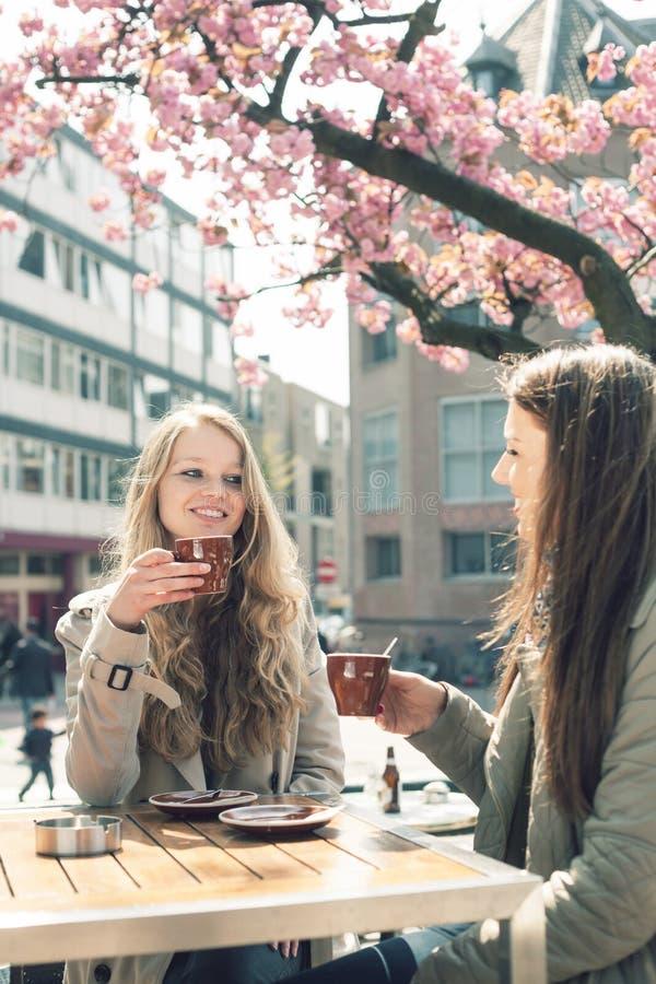 咖啡馆的两名妇女 库存照片