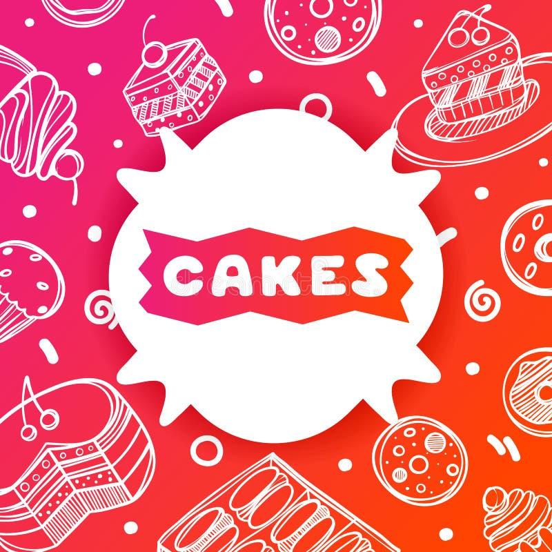 咖啡馆的五颜六色的梯度飞行物在与蛋糕的光滑的背景引述 食物的线性乱画例证 空白 皇族释放例证