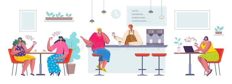 咖啡馆的人们 坐在咖啡馆的卡通人物喝和沟通,平展愉快的人在餐馆 皇族释放例证