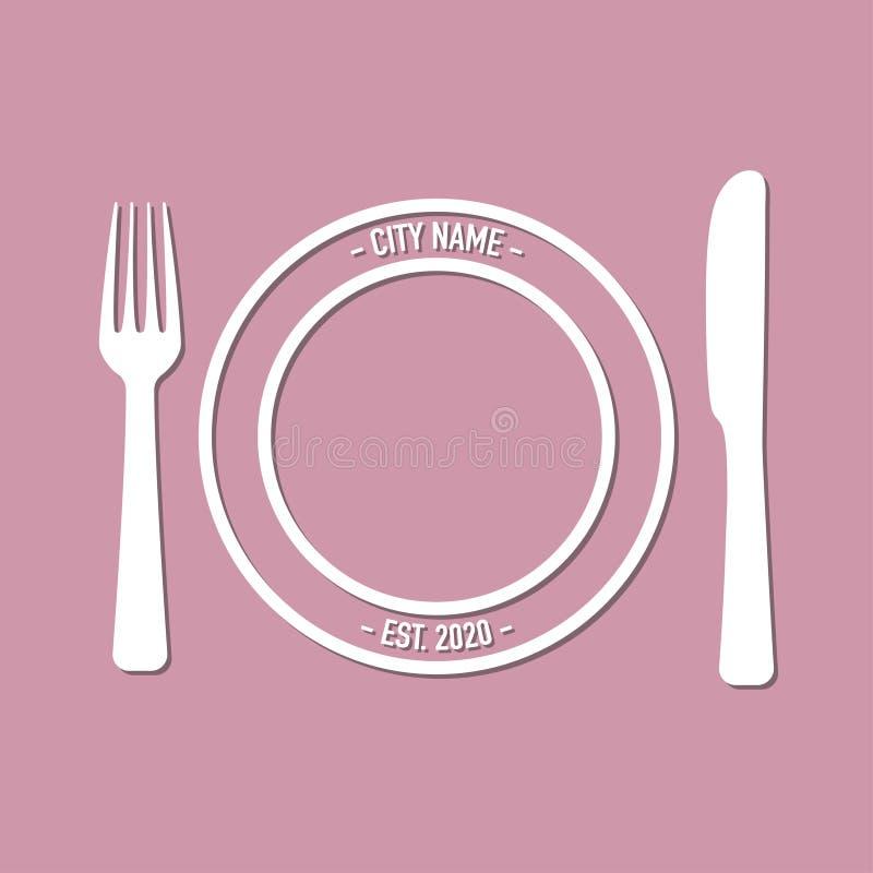 咖啡馆的商标与叉子和匙子 向量例证