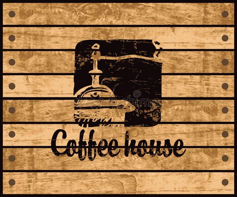 咖啡馆的商标 向量例证